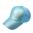 FH068 Half Solid Glitter & Half Mesh Baseball Cap, Blue